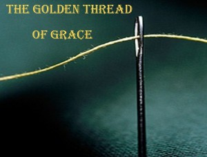 Golden thread through eye of needle.